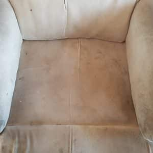 Heavily soiled lounge chair before